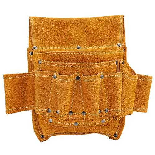 Bolsa de cintura para herramientas, multifuncional, de piel de vaca amarilla, para electricistas, herramientas de almacenamiento, kit de herramientas, adecuado para decoración de interiores y carpinte