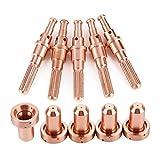 Boquillas de plasma con electrodo de plasma, 5 piezas 9-8215 Electrodo con 5 piezas 9-8210 Puntas de boquilla para antorcha de corte por plasma Consumibles Thermal Dynamics 60/100 Antorcha de plasma