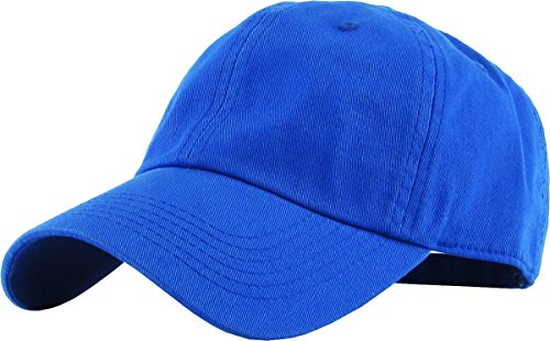 KB-LOW ROY Classic Cotton Dad Hat Adjustable Plain Cap. Polo Style Low Profile (Unstructured) (Classic) Royal Adjustable