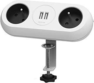 Orno AE-13133/W 2-Way USB Power Strip 2 Sockets Type E Bracket and Cable of 1.4 m (White)