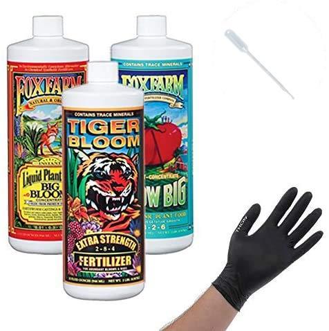 Fox Farm Liquid Nutrient Trio Hydro Formula: Big Bloom, Grow Big Hydro, Tiger Bloom (Pack of 3-16 oz. Bottles) 1 Pint Each + Gloves & Pipette