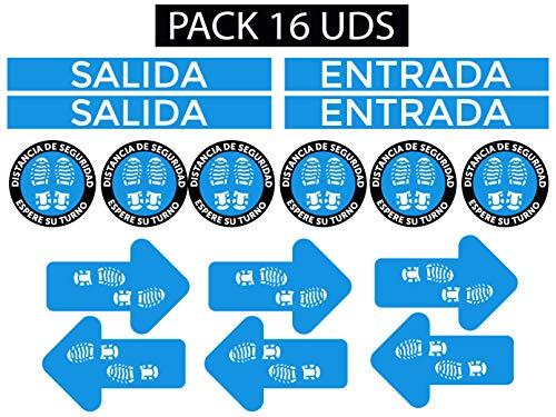 Oedim Pack 16 Vinilo Señalización para Suelo Entrada y Salida - Distancia de Seguridad Azul   Vinilos Autoadhesivos para Decorar o Renovar Suelos