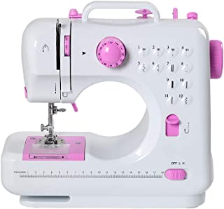 Sewing Machine Mini Portable Electric Portable Household with Foot Pedal Overlock 12 Built-in Stitches for Amateurs Beginners Embroidery Pink Safety