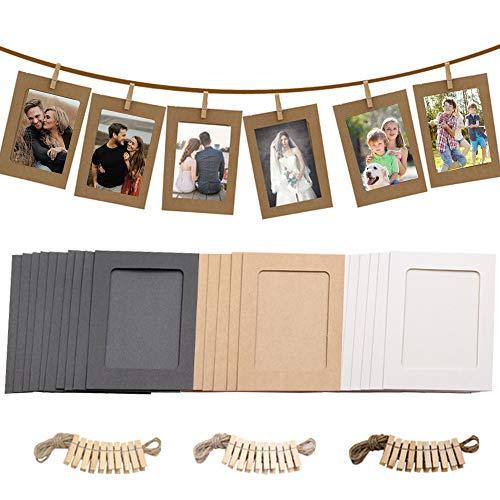 30 Stücke Papier Bilderrahmen 10*15cm, Fotorahmen Papier 6x4 in Zum Aufhängen, mit Mini-Holzklammern und Hanfseilen, Wanddeko DIY Kreative für DIYGeburtstag / Hochzeit / Jubiläum / Festival