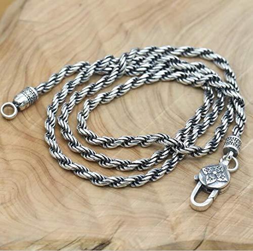 K-ONE 925 Silver Tibetan Six Words Necklace Buddhist Vajra Necklace Pure Silver Tibetan Necklace-Style 1,70Cm