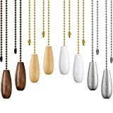 8 Pieces Ceiling Fan Pull Chains Wooden Pendant Pull Chain Extension for Ceiling Light Lamp Fan Chain (Walnut Color, White, Silver, Wood Color)