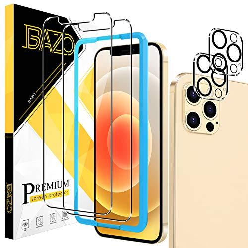 BAZO - Protector de pantalla de cristal templado y protector de lente de cámara para iPhone 12 Pro Max (6,7 pulgadas), [marco de fácil instalación] [antiarañazos] [amigable con la funda] dureza 9H HD película transparente