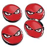 SkinoEu® 4 x 60mm Universal Tapas de Rueda de Centro No Fear Eyes Rojos Tapacubos para Llantas Coche C 75