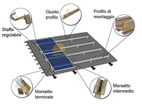 Kit Montagebügel für Fotovoltaikanlagen 2kW auf Dach mit Krempe mit Dachziegel Standard