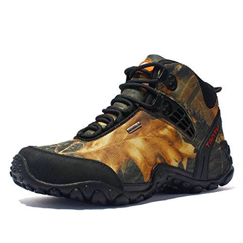 SANANG Hombres Zapatillas de deporte al aire libre Camuflaje Botas de senderismo Zapatos de trekking (43 EU, Amarillo)
