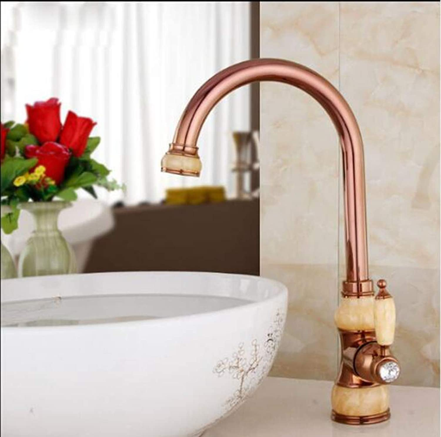 FZHLR Brass Torneira Cozinha with Jade Kitchen Faucet∕Single Handle gold Finish Basin Sink Mixers Taps Sink Faucet,C