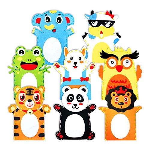 Marionetas animales 8pcs marionetas de mano del kit de bricolaje Hacer Títeres de costura Arte Calendarios linda animales marionetas de mano Juguetes Estuches de costura for Niños - Juego de rol paque