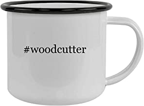 Rubber Docking #woodcutter - Sturdy 12oz Hashtag Stainless Steel Camping Mug, Black