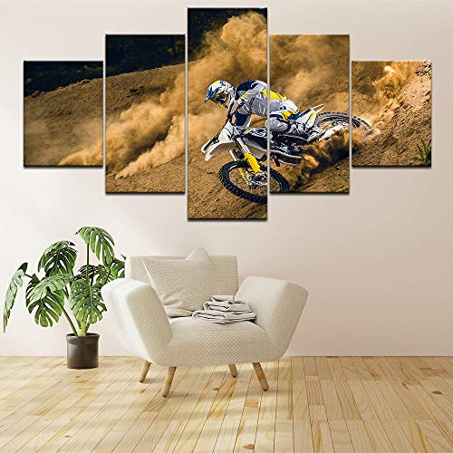 XuFan Pintura de Lienzo Cuadro Motocross Moderno Coche HD Impreso Decoración para Sala de Estar 25x38cm-2p 25x50cm-2p 25x63cm-1p Sin Marco