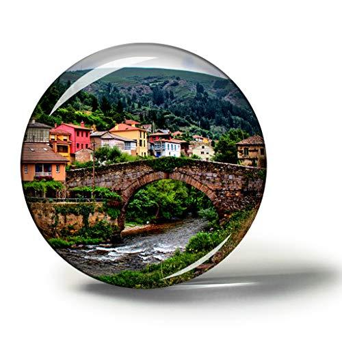 Hqiyaols Souvenir España Asturias España Imanes Nevera Refrigerador Imán Recuerdo Coleccionables Viaje Regalo Circulo Cristal 1.9 Inches