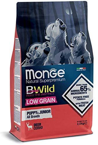 Monge Cane CROCCHETTA BWILD Low Grain all Breeds Puppy & Junior con Cervo 12 kg.