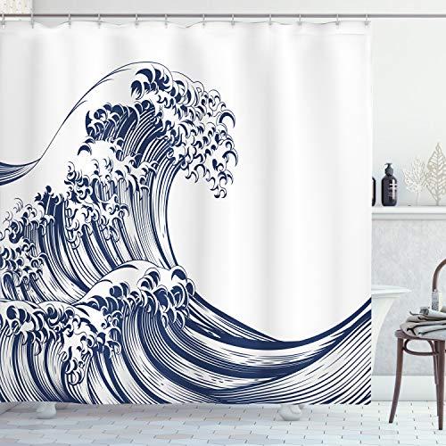 ABAKUHAUS Ola Japonesa Cortina de Baño, Vintage Oriental, Material Resistente al Agua Durable Estampa Digital, 175 x 200 cm, Azul Marino Blanco
