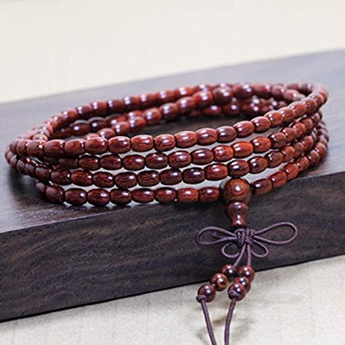 Pulsera Feng Shui Bead Pulsera budista budista de sándalo púrpura 5-6mm Bead de arroz Pulsera de cuentas cilíndricas Pulseras de señoras Pulseras Elásticos Nudo Cadena colgante Pulsera de abalorios de