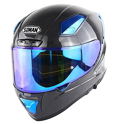 Cascos Integrales Casco De Moto Fibra De Carbono Homologado Dot ECE Anti-UV Doble Visera Casco Moto Integral Racer Hombre Mujer Casco De Motocicleta De Carbono De Cara Completa Grande F,3XL=64~65cm