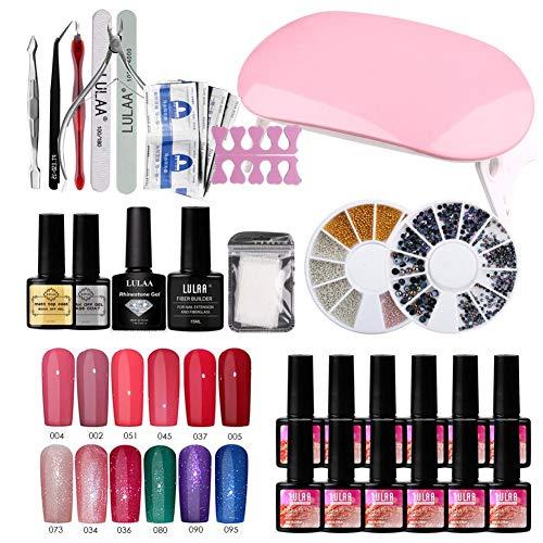 Finelyty Kit de Inicio de Esmalte de uñas de Gel, Juego de Herramientas de manicura Profesional, Kit de manicura Tools Essentials Nail Art
