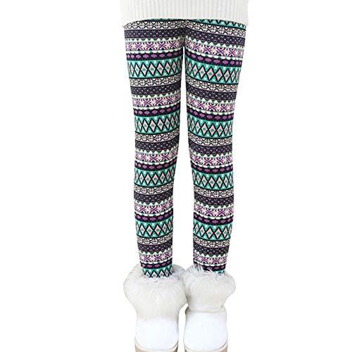 Ugitopi Leggings Forrados de Lana Invierno Niña Pantalones Grueso 2-11 Años 100 rhombus
