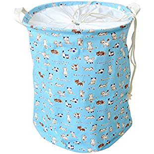 perfk 35x45cm Extra Large Linen String Storage Basket Toys Bin Laudry Hamper,Collapsible Basket - Blue, 35x45cm