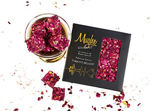 Luxury Rose Petal Coated Turkish Delights w/Pistachio Gourmet Gift Box - Taste The Unique, Original Most Prestigious Turkish Delight/Gift Box (16 Oz/1 lb Gross)