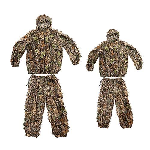 Milageto 2Pc 3D Camo Leaf Anzug Ghillie Jungle Sniper Trainingskleidung Camouflage Netting