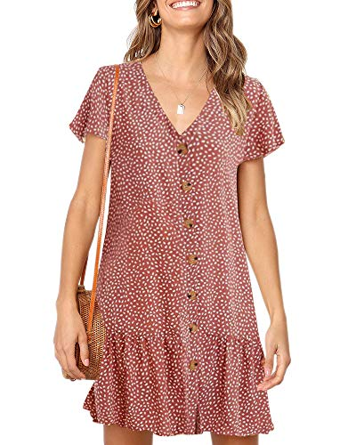 Imysty Womens Polka Dot V Neck Button Down Ruffles Loose Mini Short T-Shirt Dress