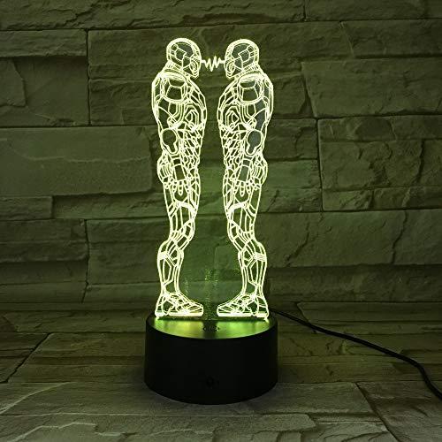 Hierro superhéroe hombre estereoscópico USB 3D LED luz de noche lámpara de mesa mesita de noche decoración niños regalo
