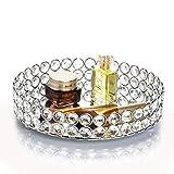 Feyarl Bandeja decorativa redonda con perlas de cristal y superficie espejada, para cosméticos, organizador de joyas, perfume (23 x 23 x 4 cm)