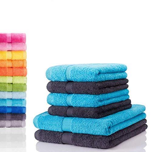 etérea Carli 6 TLG Handtuch Sparset 4X Handtücher, 2X Duschtücher - 100% Baumwolle und Oeko Tex Standard 100 - Qualitäts Frottierware 500 g/m² - Farbe: Graphit - Türkis