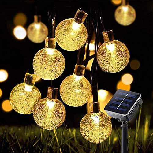 Ibello Catena luminosa Solare Stringa di Luci 6 Metri 30 Palline LED Impermeabile Energia Solare Bulbo Luminoso Luce Bianca Calda 8 Modalità Decorativa da Festa Giardino Gazebo (Bianco Caldo)