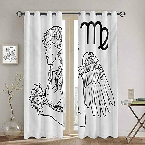 DONEECKL Zodiac Virgo Blackout Curtain Liner Astrological Angel Carrying a Bouquet of Lily Flowers in a Greek Dress 2 Panel Sets W72 x L96 Inch Black and White