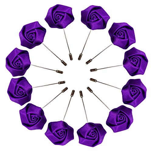 Sanrich Rose Boutonniere Men's Lapel Pins Satin Flower 12 Pack Groom Wedding Boutonniere Suit Brooch Outfit Accessories (purple)