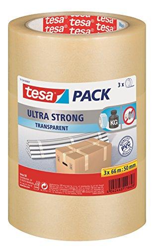 tesapack Ultra Strong im 3er Pack - PVC-Klebebänder für festes Verpacken und sicheres Bündeln - Transparent - 3 Rollen je 66 m