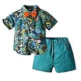 Conjunto de niño de 1 a 5 años de verano 2 piezas camisa polo camiseta de manga corta con pajarita + pantalones cortos casual hawaiano Vacaciones verde oscuro 6- 12 Meses