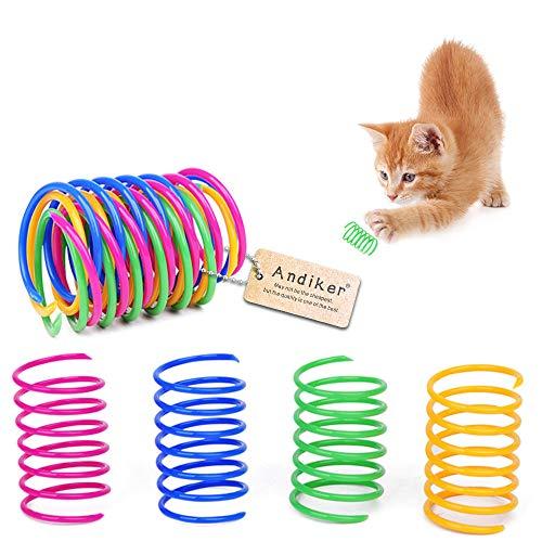 Andiker Giocattolo a Molla per Gatti, Durabile Interattivo Giocattolo Colorato e Creativo Molla, Morbida ed a Spirale in Plastica Mordere Giocattolo per Gattino (12 Pezzi)