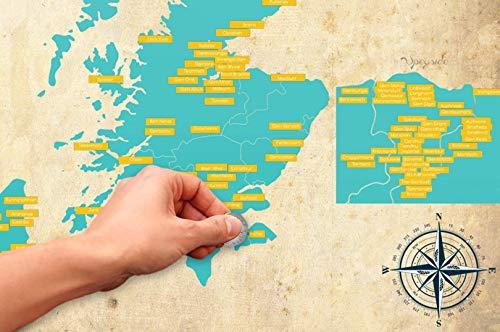 Glentaste Whisky Rubbelkarte - Poster von Schottland mit Brennereien zum freirubbeln - DIN A2 - Whiskygeschenk