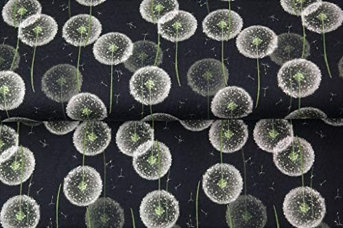 Stenzo – Jersey Stoff mit Pusteblumen I Digital Druck Baumwolljersey Meterware I 150 x 100 cm I schwarz, grün, Silber