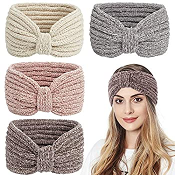 Whaline Winter Knitted Headband Bow Twisted Hair Bands Thick Chenille Ear Warmer Crocheted Turban Head Wraps Elastic Hair Band Accessories for Girls Women Christmas 4 Pack  Beige Pink Gray Brown