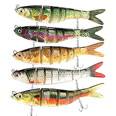 Maxjaa Fishing Lures, 5.4in Fishing Lures with 8 Segmented and 6 Fishing Hooks, Life-like Multi-section Floating Lures for bass, yellow perch, freshwater saltwater (Set of 5)