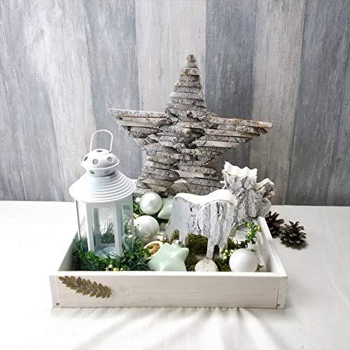 Weihnachtliches Gesteck mit kleiner Laterne, Holzstern, Weihnachten, Weihnachtsdeko,