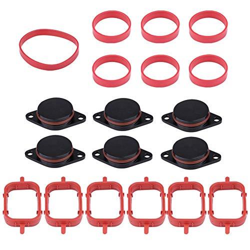 Duokon Auto Motor Intake Dichtungen Kit, Aluminium & Gummi Diesel Swirl Flap Rohlinge Reparatur Kit Mit Verteiler Dichtungen (6 * 33mm-Schwarz 6 * 33mm)