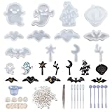 OLYCRAFT 12pcs Halloween Theme Silicone Molds Resin Jewelry Casting Mold Kit with Tools 153pcs in Total for Epoxy Resin Jewelry Making and Art Projects