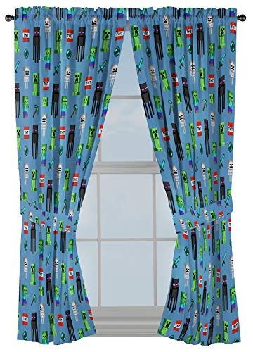 """Minecraft Monster Hunters 63"""" Inch Drapes - Beautiful Room Décor & Easy Set Up, Bedding - Curtains Include 2 Tiebacks, 4 Piece Set (Official Minecraft Product)"""