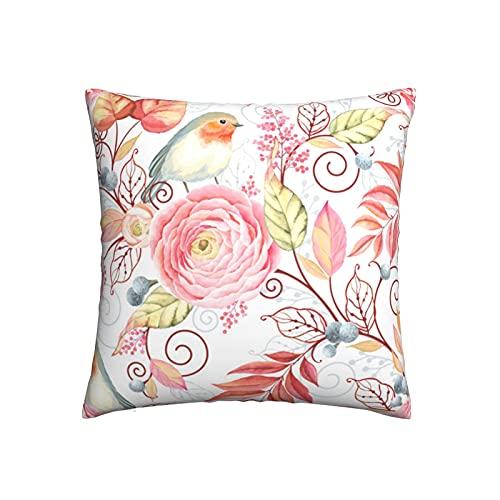 Abstrakt fågel robin blomma prydnadskudde kuddöverdrag, soffkudde plysch design dekoration hem säng örngott 45 x 45 cm