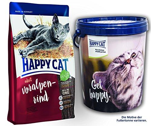 Happy Cat Adult Voralpen Rind 2 x 10 kg = 20 kg + 1 x Futtertonne Happy Cat 20 Liter