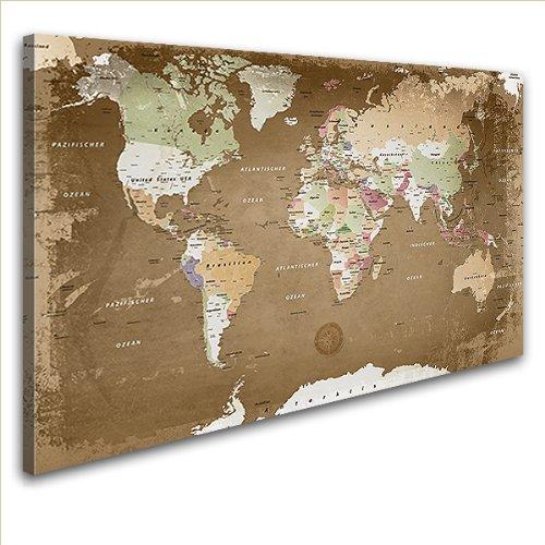 "LANA KK - Leinwandbild \""Weltkarte Oldstyle\"" Weltkarte - deutsch - Kunstdruck-Pinnwand auf Echtholz-Keilrahmen – Globus in  braun, einteilig  & fertig gerahmt in  100 x 70 cm"