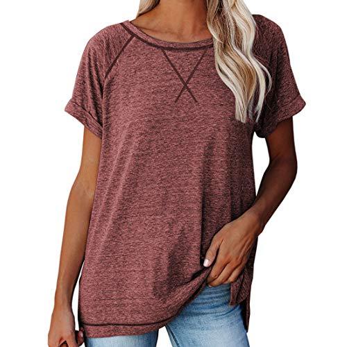 Camisetas para Mujer Cuello Redondo Camiseta Deportiva básica Suelta Camisetas para Mujer - Tops Casuales de Verano Camisetas con Cuello Redondo de Manga Corta en Tops Tipo túnica con Cuello Redondo